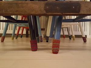 Hæklede stribede stolesokker